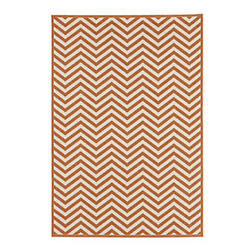 Chevron Stripe Indoor/Outdoor Rug - Rust/Ivory
