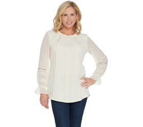 Isaac Mizrahi Live! Clipped Dot Peasant Blouse wit