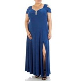 Plus Size Cold Shoulder Gown with Crystal Accent