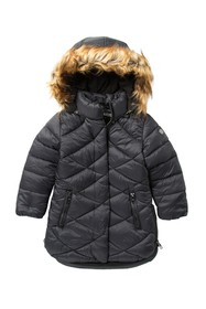 Steve Madden Long Puffer Jacket with Removable Fau