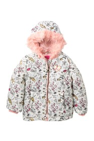 Betsey Johnson Printed Puffer Jacket with Faux Fur