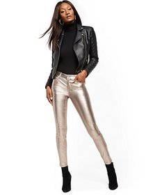 Mid-Rise Super-Skinny Jeans - Metallic Coated - Ne