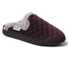 Dearfoams Women's Quilted Velour Scuff Slippers -