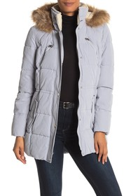 Nautica Faux Fur Trim Puffer Jacket
