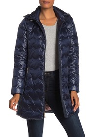 kate spade new york hooded zip front quilted down