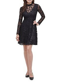 Guess Burnout Embroidered Lace Dress BLACK
