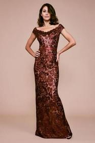 Tadashi Shoji - Scalloped Off Shoulder Long Sequin