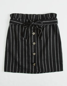 WHITE FAWN Stripe Button Front Girls Skirt_