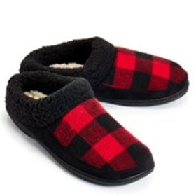 Womens Fleece Trim Plaid Clog Slippers