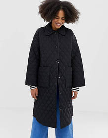 Monki quilted long line jacket in black