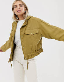 Weekday lightweight hooded bomber jacket with draw