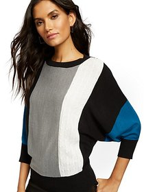 Colorblock Mixed-Knit Dolman Sweater - New York &