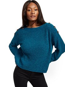 Button-Accent Chenille Sweater - New York & Compan