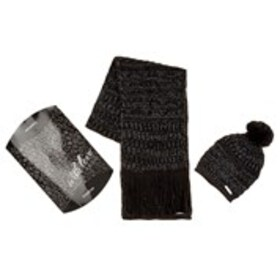 BEBE Womens Textured Knit Scarf & Hat Set with Gif