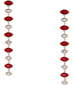 GUESS Mixed Stone Linear Drop Earrings Red