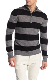 Quinn Rugby Striped 1/4 Zip Wool Sweater