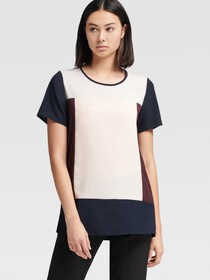 Donna Karan CREW-NECK COLOR-BLOCK TOP