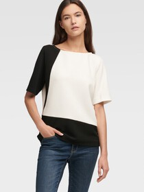 Donna Karan Colorblock Knit Top