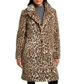 GALLERY Button Front Faux Leopard Coat