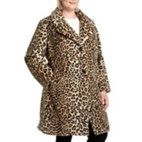 GALLERY Plus Size Leopard Print Faux Fur Jacket