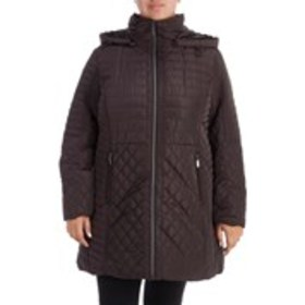 GALLERY Plus Size Hooded Mixed Quilted Jacket