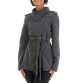 LOUISE PARIS Asymmetrical Fleece Lined Belted Coat