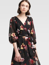 Donna Karan BISHOP SLEEVE FLORAL WRAP DRESS