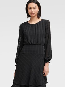 Donna Karan LONG SLEEVE FIT-AND-FLARE DRESS WITH D