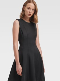 Donna Karan FAUX-LEATHER TRIM FIT-AND-FLARE DRESS