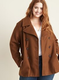 Plus-Size Double-Breasted Peacoat