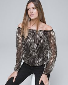 Graphic Dot Off-the-Shoulder Blouse