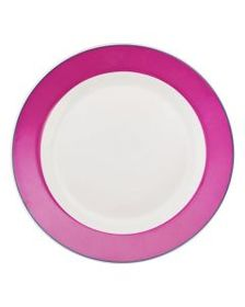 Pfaltzgraff Banded Pink with Blue Dinner Plate