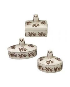 Pfaltzgraff Woodland Set of 3 Owl Covered Boxes
