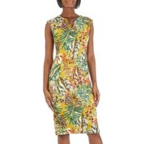 Tropical Print Cap Sleeve Scuba Dress