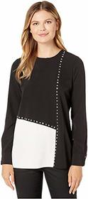Calvin Klein Long Sleeve Color Block Blouse with S