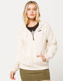 VOLCOM Snugz N Hugz Quarter Zip Cream Womens Hoodi