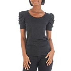 BY DESIGN Lurex Sweater with Ruched Sleeves
