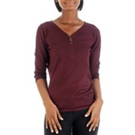 BY DESIGN V-Neck Sweater with 3/4 Zip