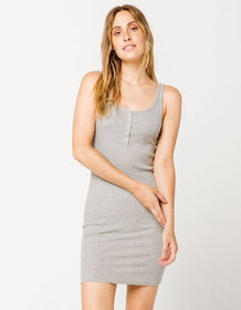 HEART & HIPS Ribbed Henley Heather Gray Bodycon Dr