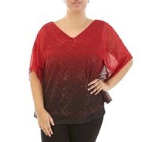 SARA MICHELLE Plus Size Ombre Glitter Cold Shoulde