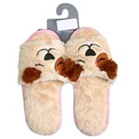 Womens Plush Puppy Slide Slippers