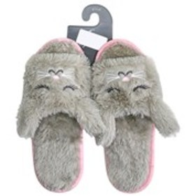 Womens Plush Bunny Slide Slippers