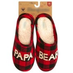 Mens Papa Bear Plaid Slippers