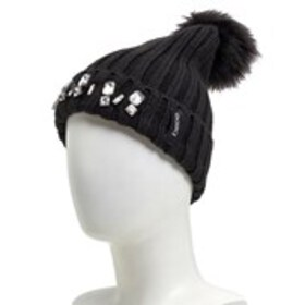 BEBE Faux Fur Pom Ribbed Jewel Cuff Hat