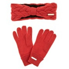 BEBE 2 Piece Cable Knit Headband and Glove Set