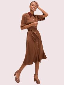 satin smocked back shirtdress
