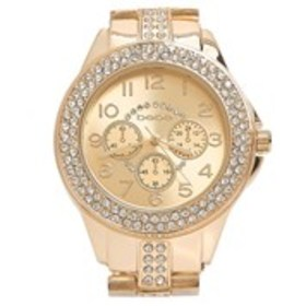 BEBE Womens Crystal Gold Dial Chronograph Bracelet