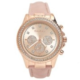 BEBE Womens Crystal Rose Gold Chronograph Watch