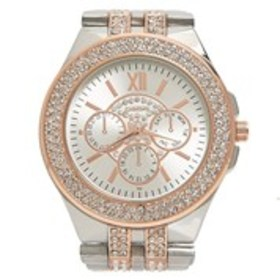 BEBE Womens Crystal Two-Tone Chronograph Bracelet
