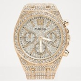 BEBE Womens Crystal Gold Chronograph Watch